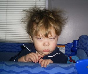 Photo of a toddler waking up