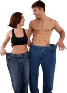 Photo showing a couple with old clothes that are too big
