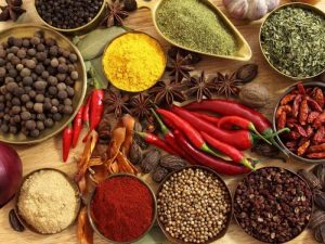 a photo of herbs and spices used in curry making