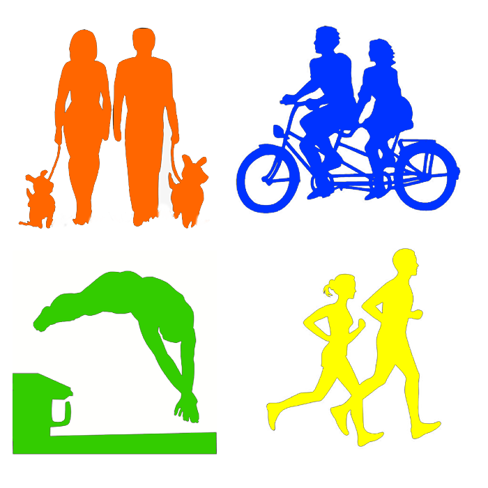 a picture showing people running, swimming, walking and cycling in green, blue, yellow and orange